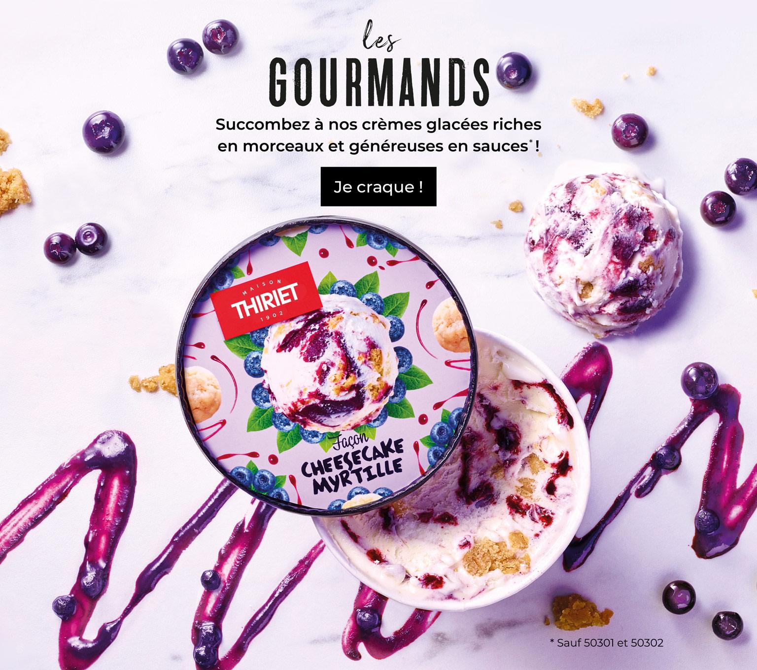 Les gourmands, crèmes glacées riche en morceaux et généreuses en sauces