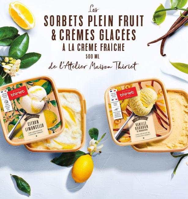 Les sorbets plein fruit et crèmes glacées à la crème fraîche de l'Atelier Maison Thiriet