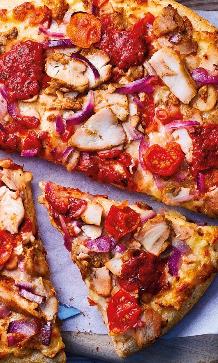 Pizzas gourmandes - Pizza pâte épaisse Shéhérazade - Poulet Kebab