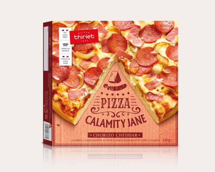 Pizzas gourmandes - Pizza pâte épaisse Calamity Jane - Chorizo cheddar