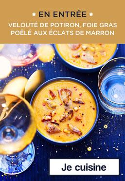 En entrée, velouté de potiron, foie gras poêlé aux éclats de marron