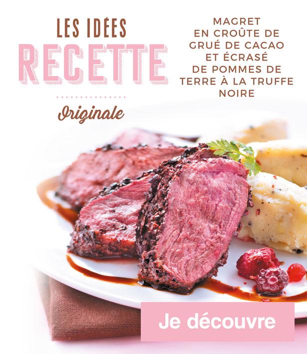 Les idées recettes de la Maison Thiriet : Magret en croûte de grué de cacao et écrasé de pommes de terre à la truffe noire