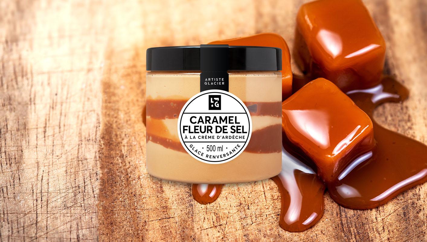 Crème glacée Caramel à la fleur de sel à la crème d'Ardèche