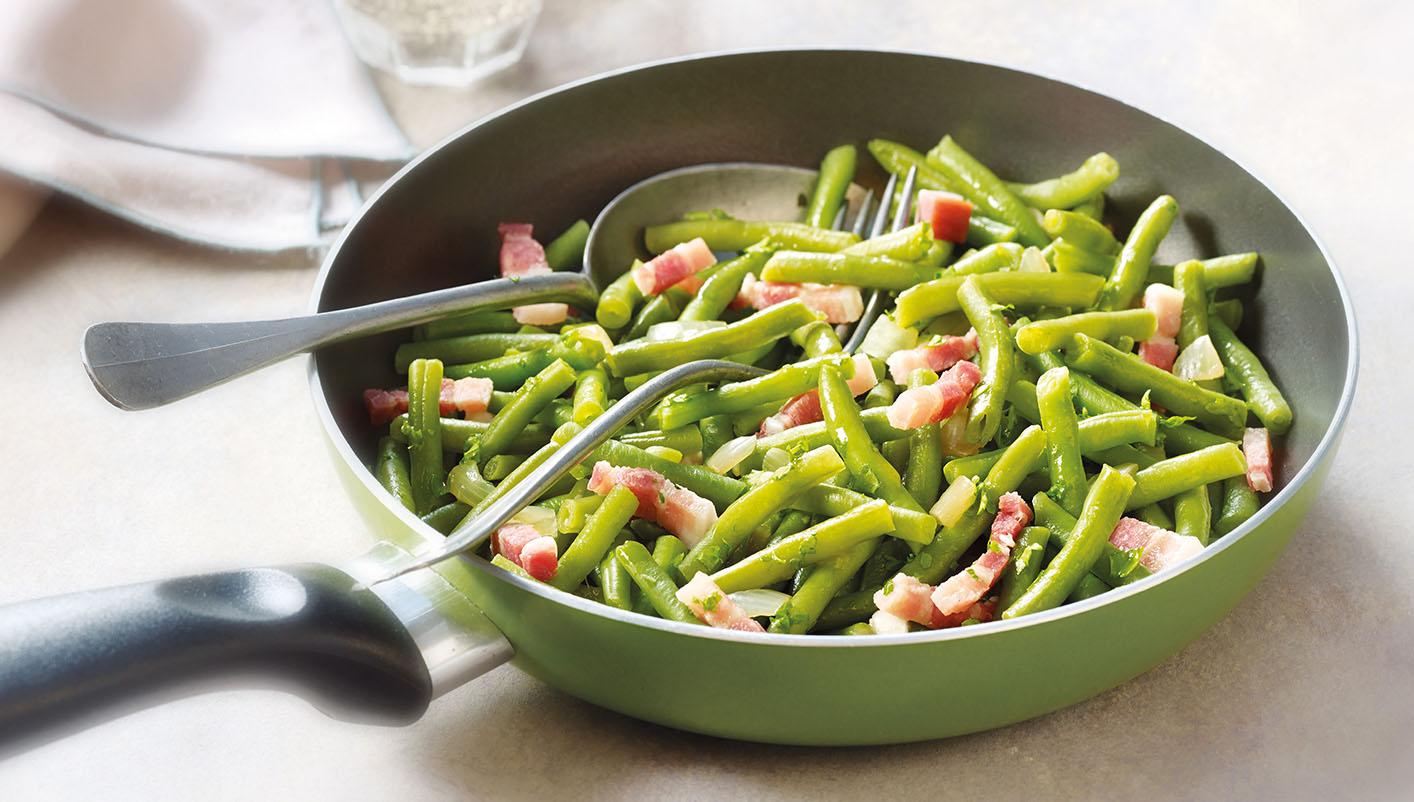 Poêlée cuisinée de haricots verts aux lardons