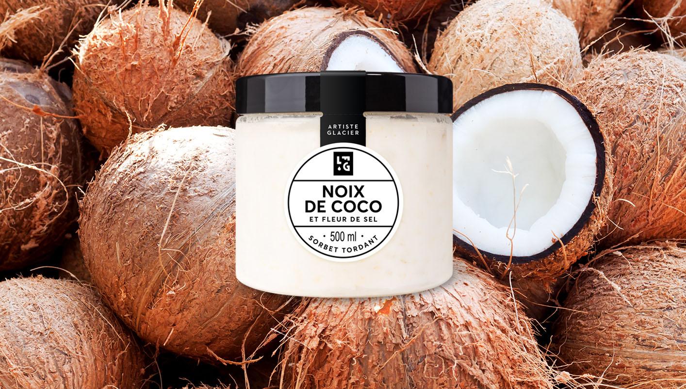 Sorbet plein fruit artisanal noix de coco et fleur de sel