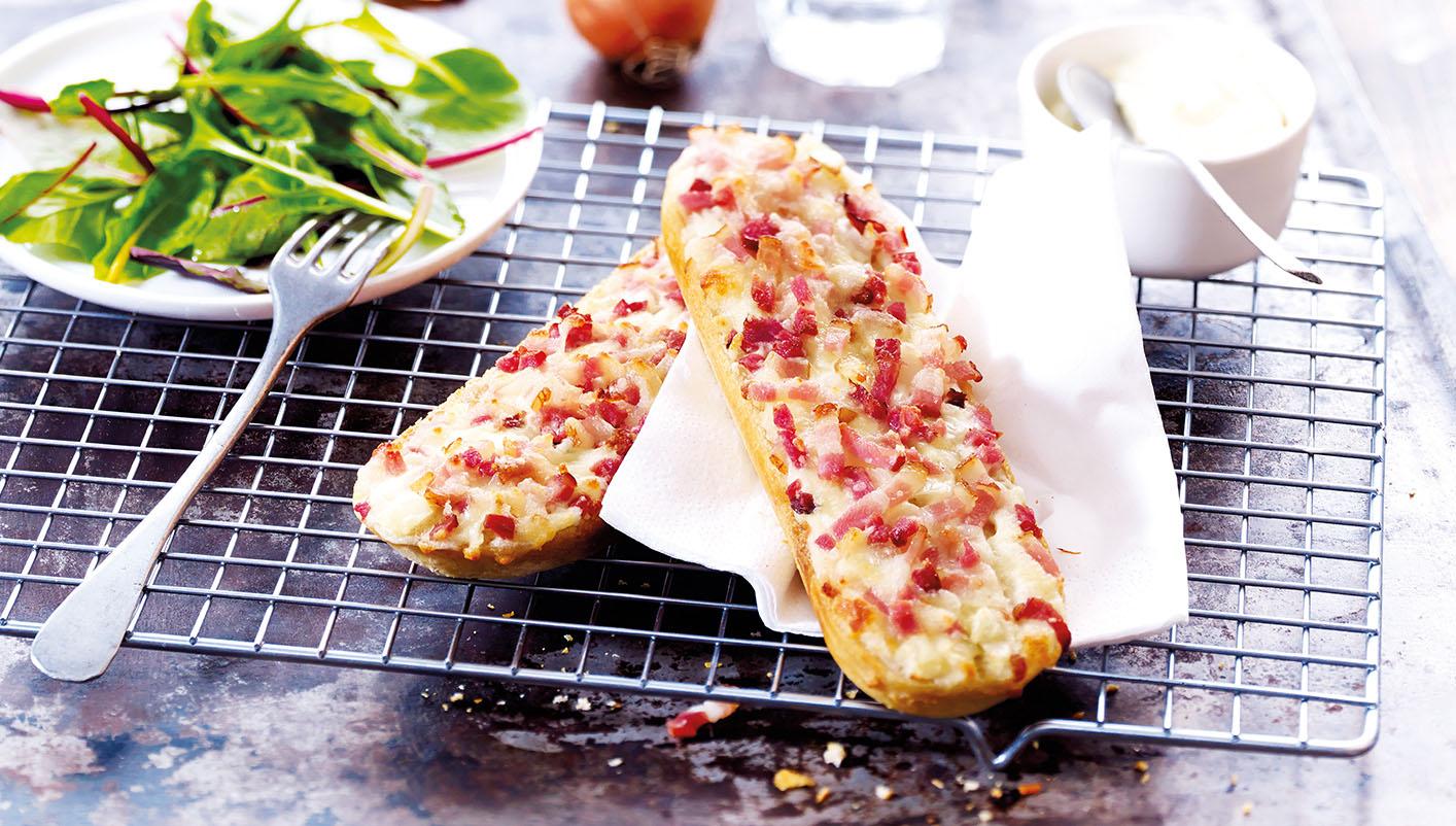 2 Tartines lardons, crème, oignons