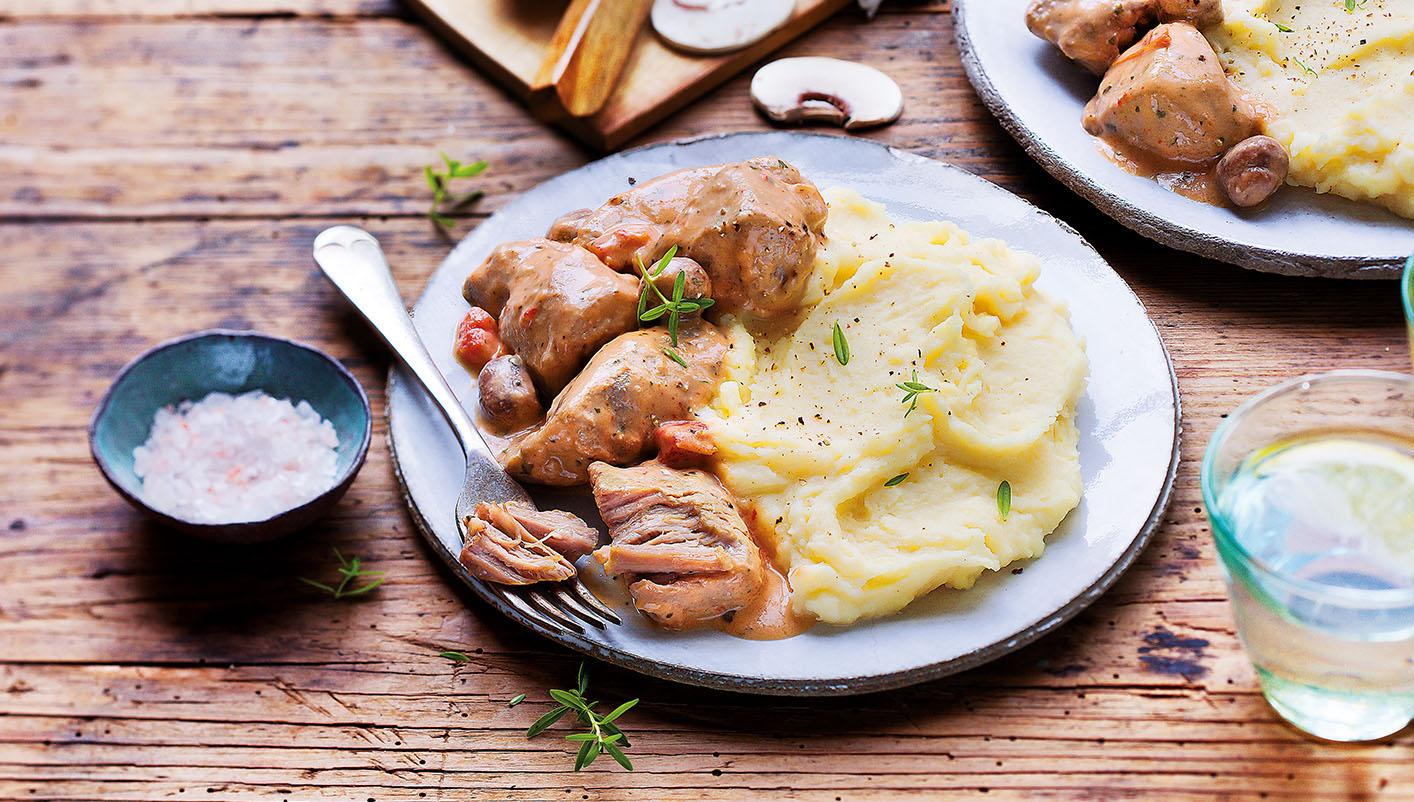 Sauté de porc, sauce chasseur, purée de pommes de terre