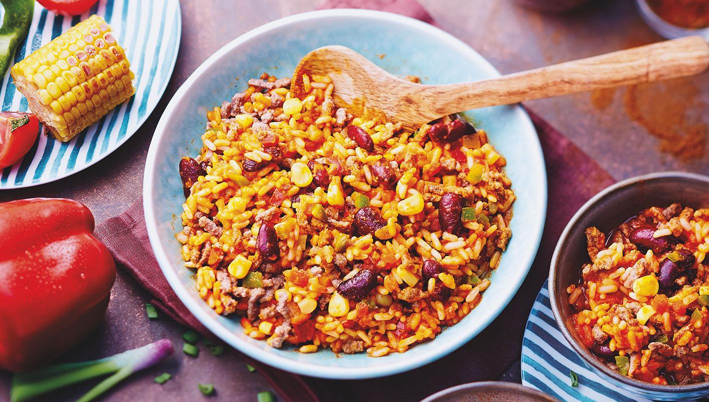 Riz et boeuf à la mexicaine