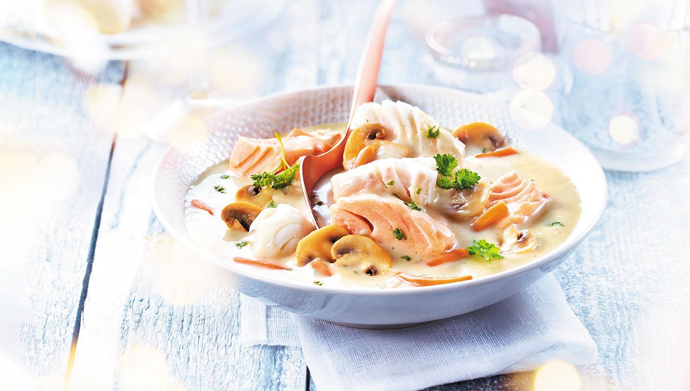 Cabillaud et saumon sauce bretonne
