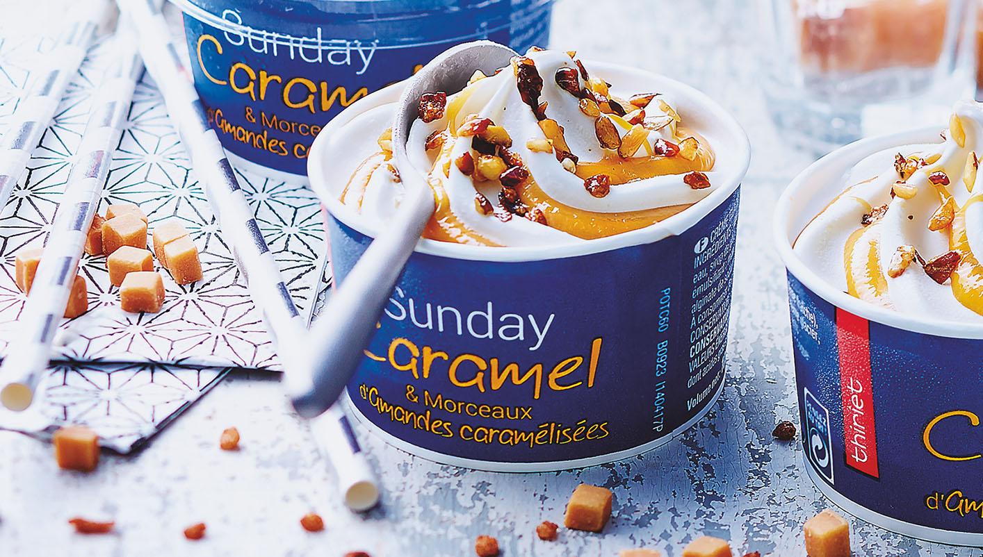 4 Sunday caramel et morceaux d'amandes caramélisées