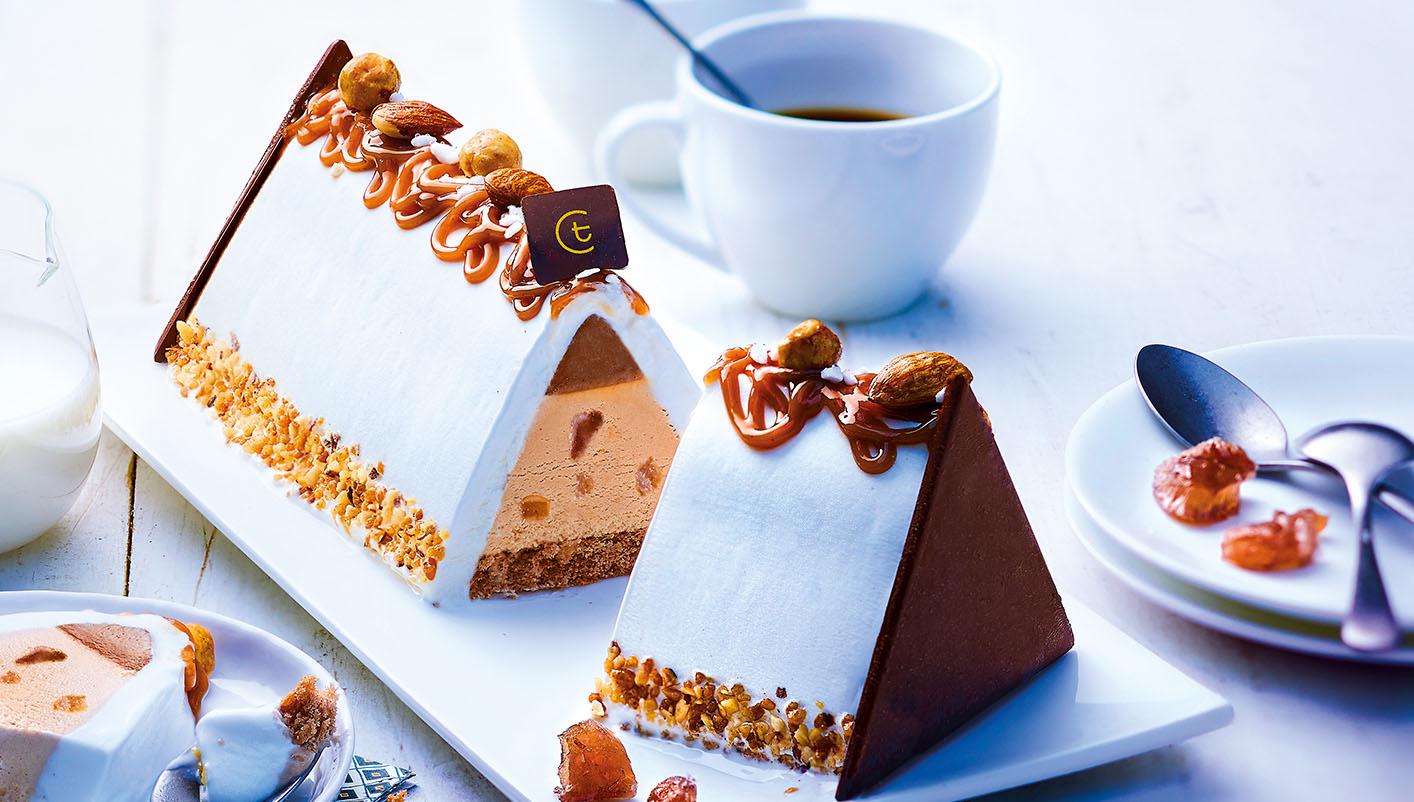 Bûche glacée façon Mont Blanc, marron - vanille
