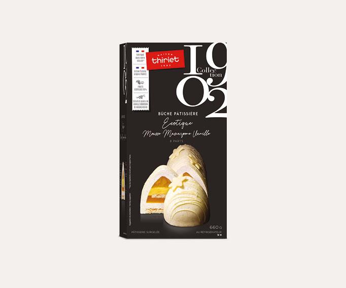 Bûche pâtissière exotique mousse mascarpone vanille