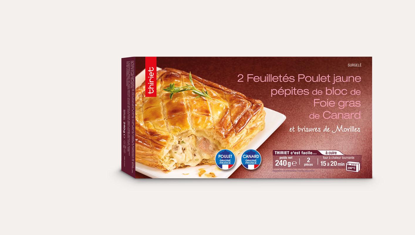 2 Feuilletés poulet jaune, pépites de bloc de foie gras