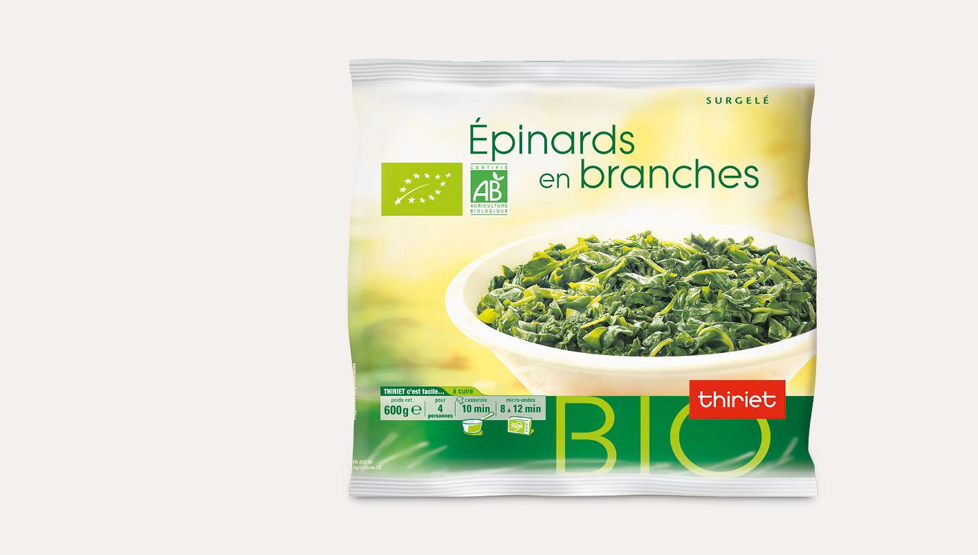 Epinards en branches biologiques