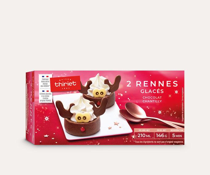 2 Rennes glacés chocolat/vanille