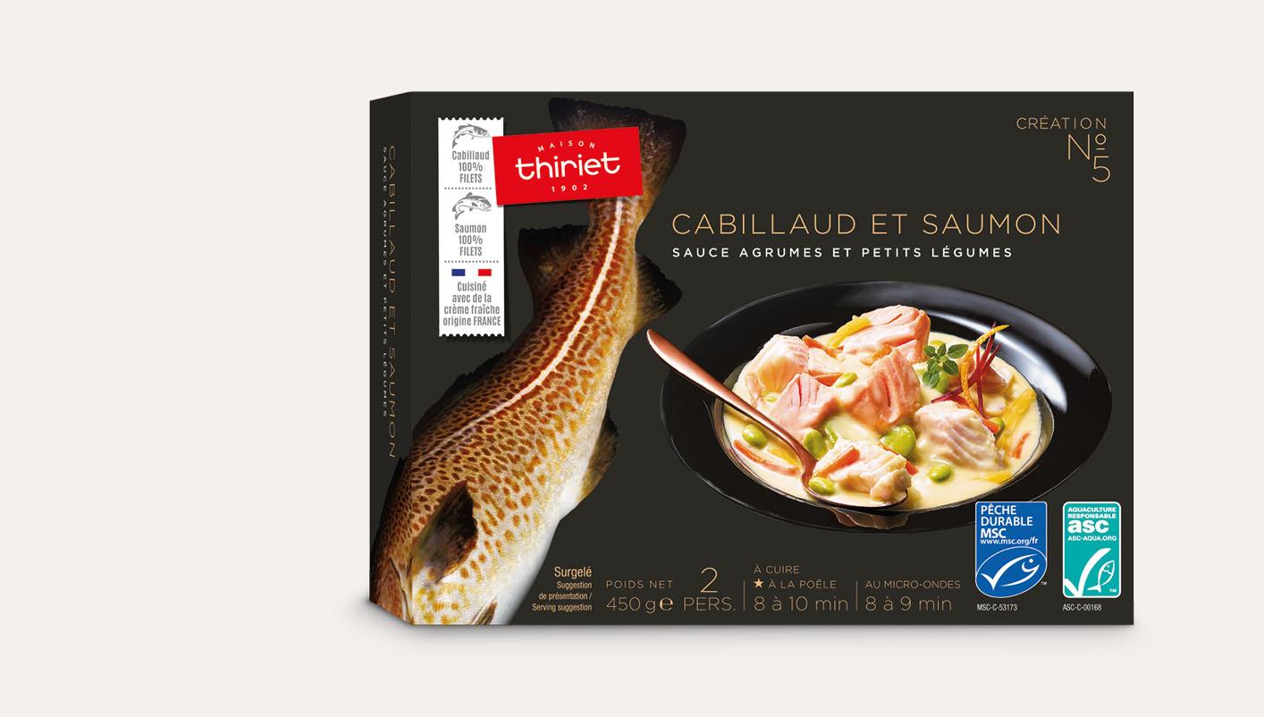 Cabillaud et saumon sauce agrumes et petits légumes