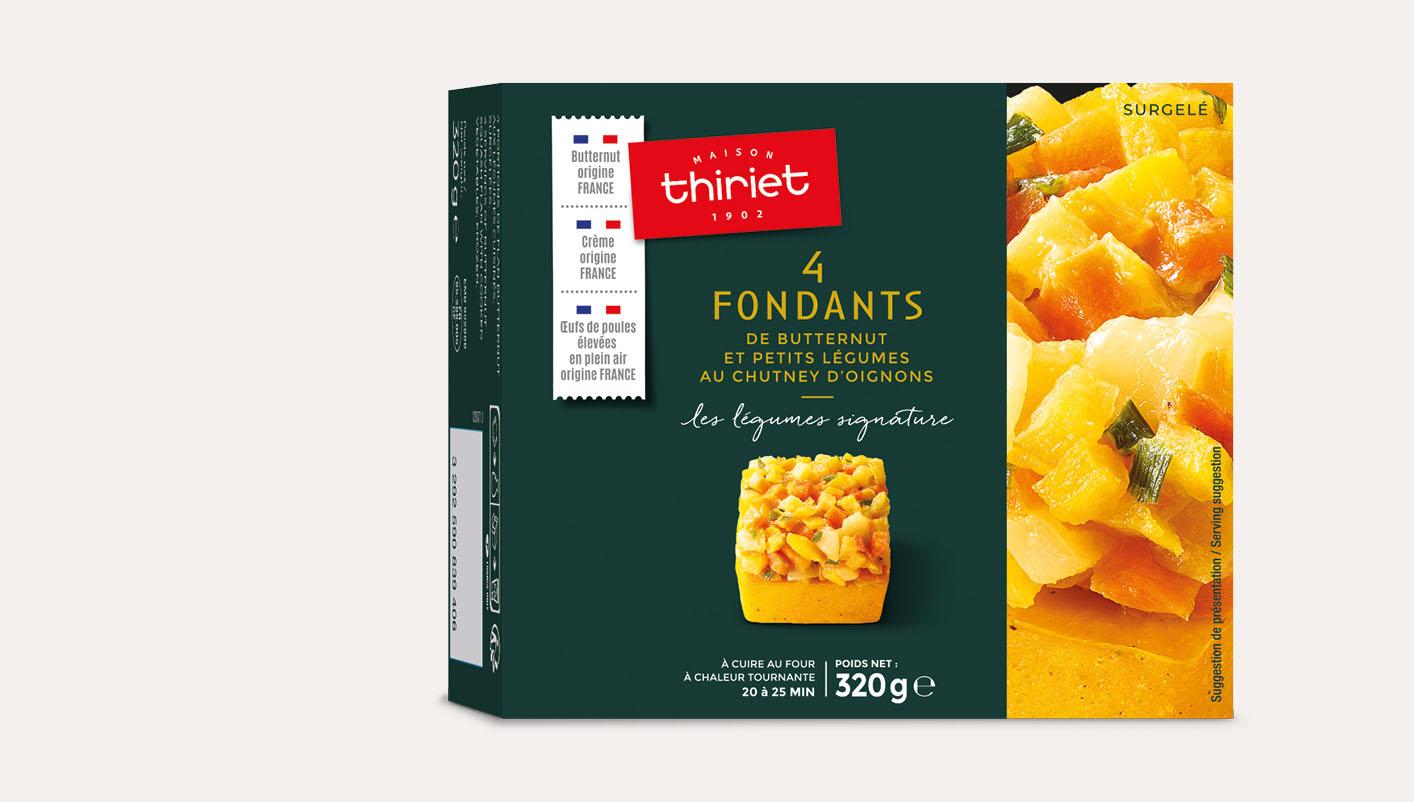 4 Fondants de butternut et petits légumes chutney d'oignons