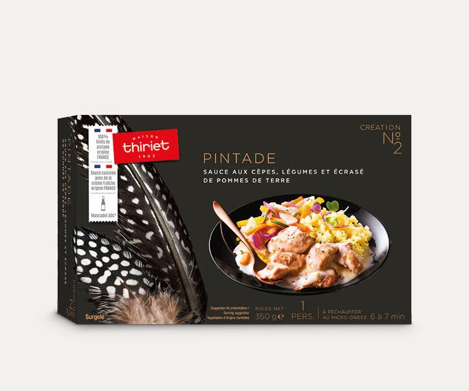 Pintade, sauce aux cèpes, légumes, écrasé de pommes de terre