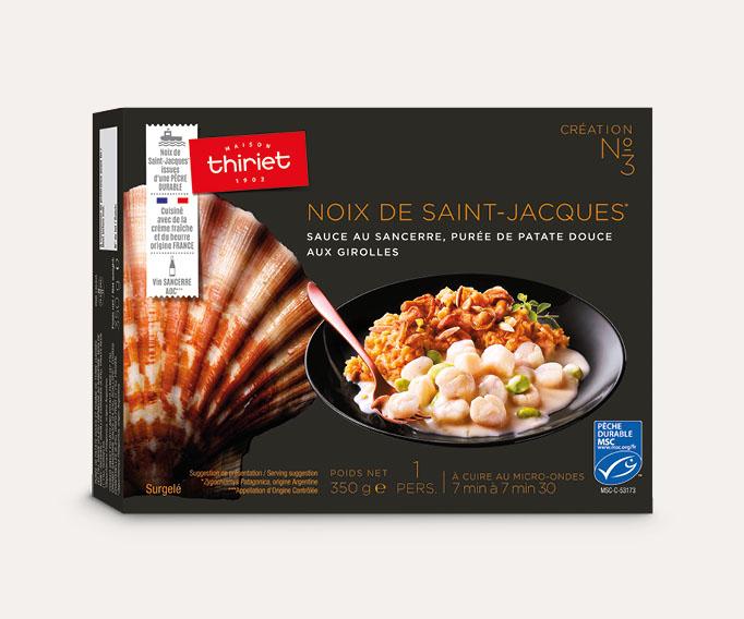 Noix de St-Jacques* sauce au Sancerre patate douce girolles