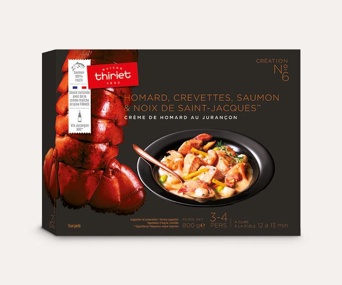 Homard, crevettes, saumon et noix de St-Jacques, crème