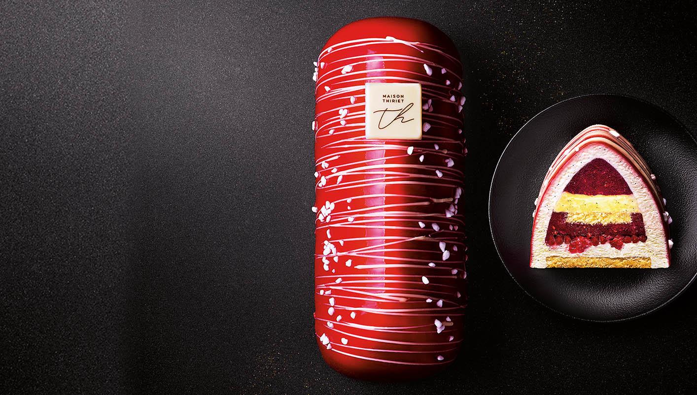 Bûche pâtissière fruits rouges mousse mascarpone vanille