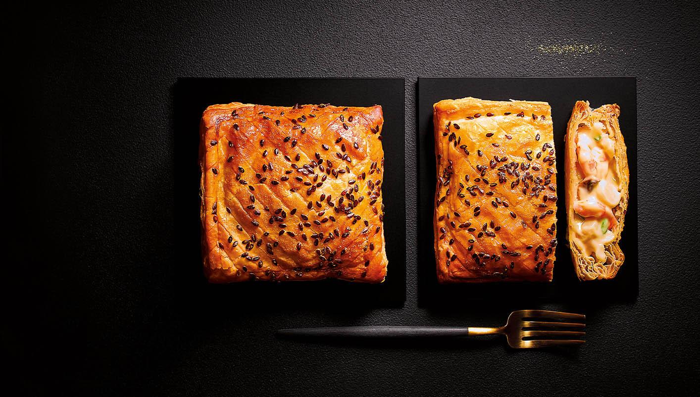 2 Feuilletés noix de Saint-Jacques*, crevettes