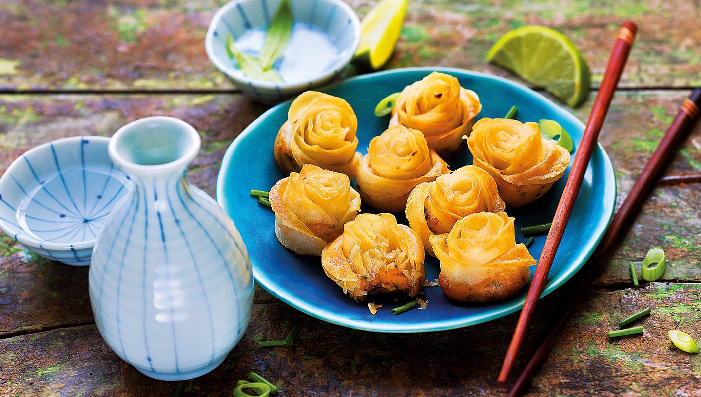 8 Mini roses croustillantes aux crevettes