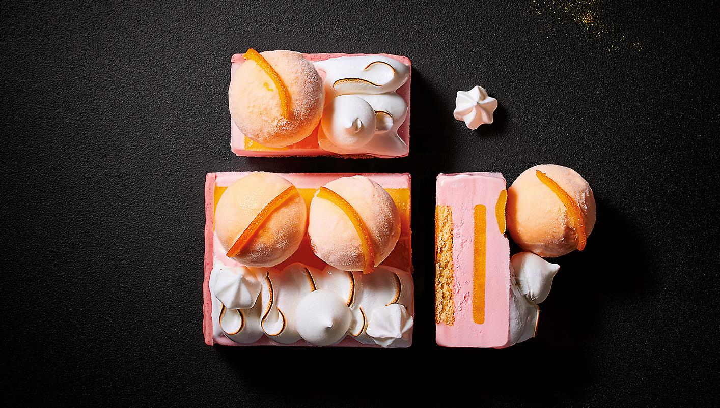 Bûche glacée meringuée pamplemousse - mandarine