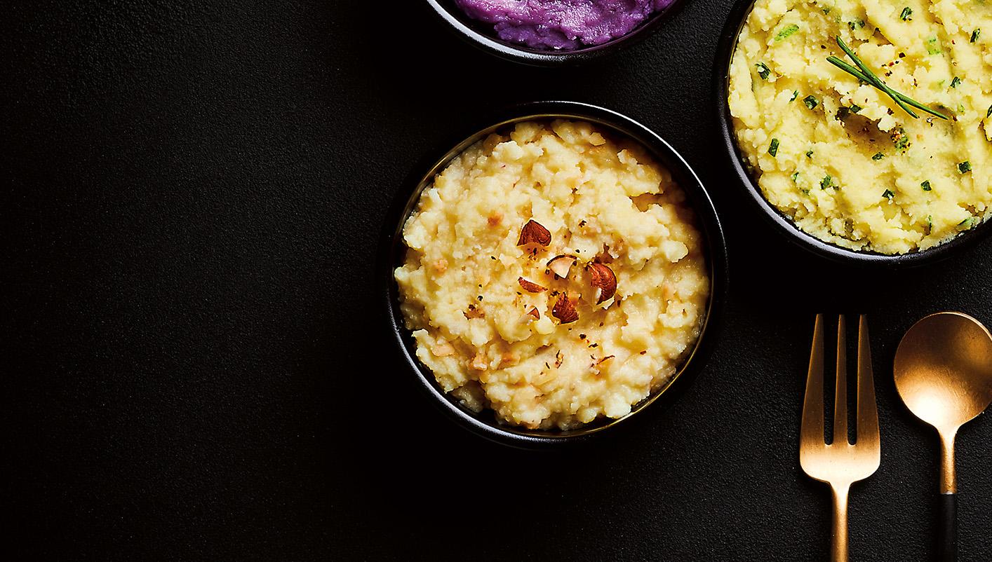 Écrasé de pommes de terre, topinambour, noisettes