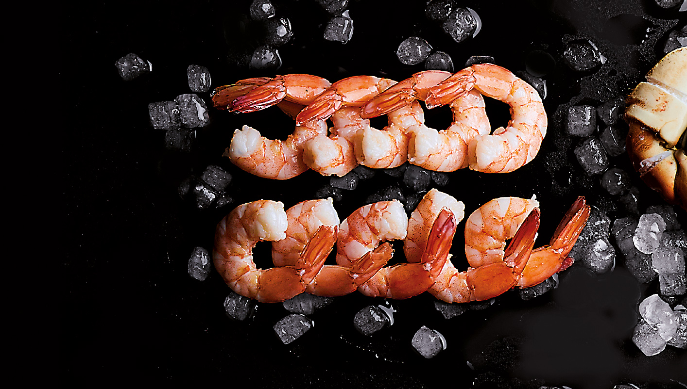 Queues de crevettes 'cocktail' décortiquées cuites
