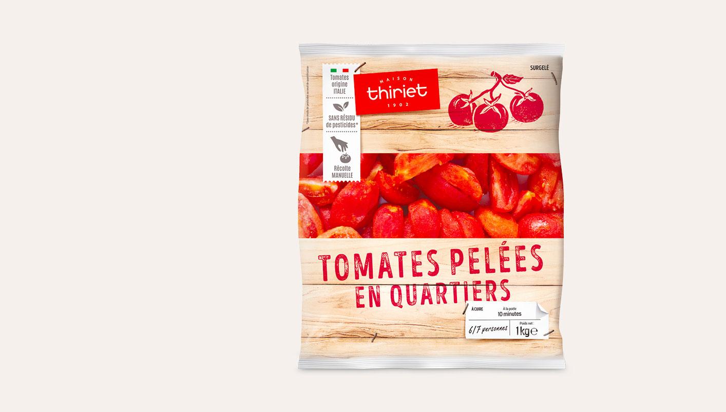 Tomates pelées en quartiers