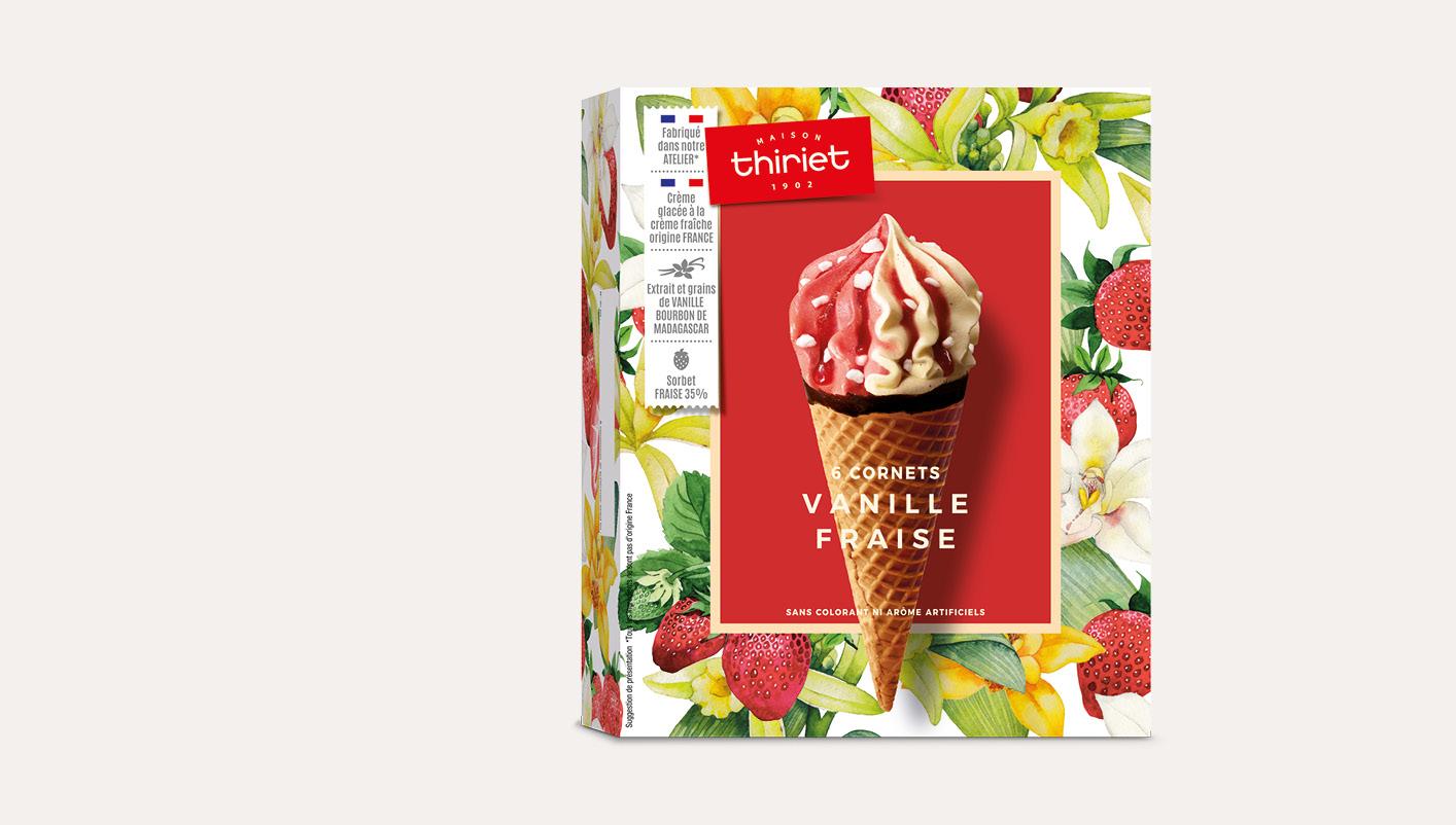 6 Cornets Vanille Fraise