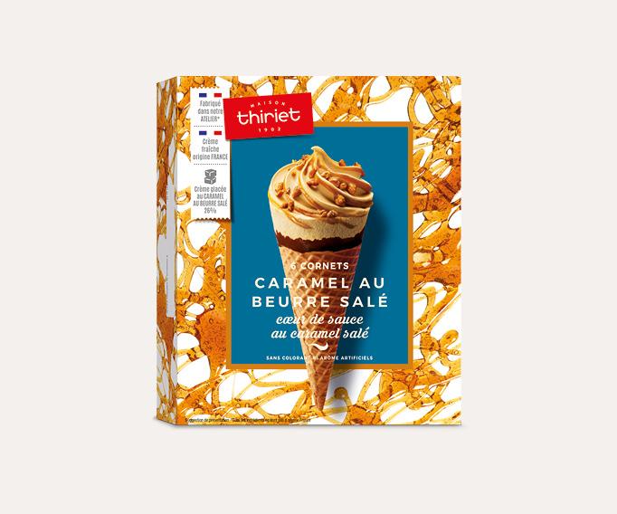 6 Cornets Caramel au beurre salé Cœur de sauce caramel salé