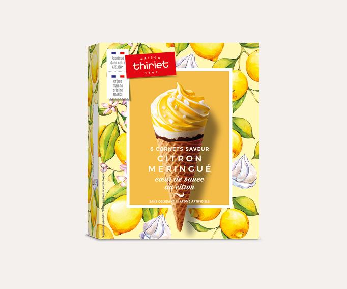 6 Cornets Saveur Citron Meringué Coeur de sauce au citron