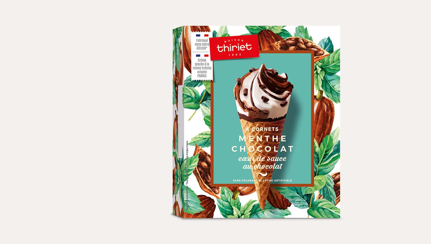 6 Cornets Menthe Chocolat Cœur de sauce au chocolat