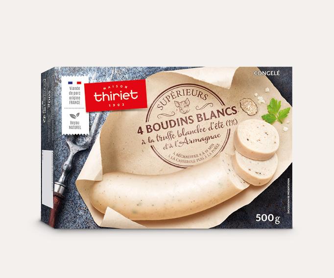 4 boudins blancs à la truffe blanche d'été (1%) et Armagnac