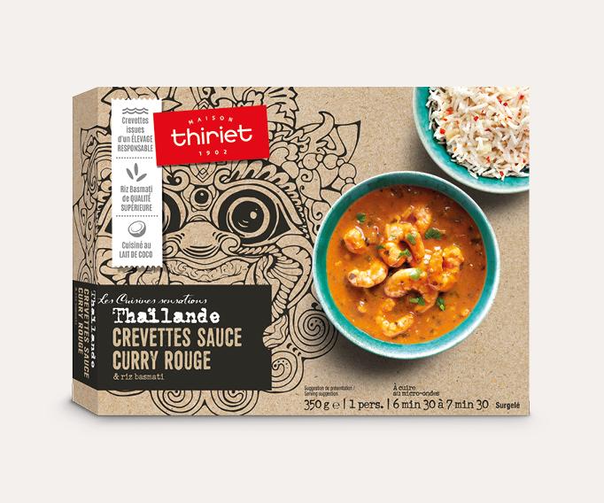 Crevettes sauce curry rouge et riz basmati