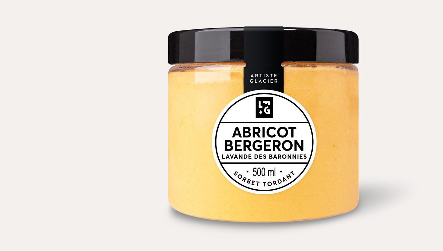 Sorbet plein fruit artisanal abricot Bergeron et lavande