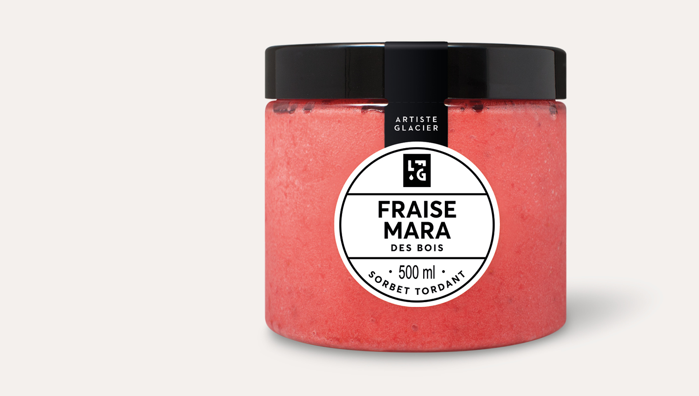 Sorbet plein fruit artisanal fraise Mara des bois