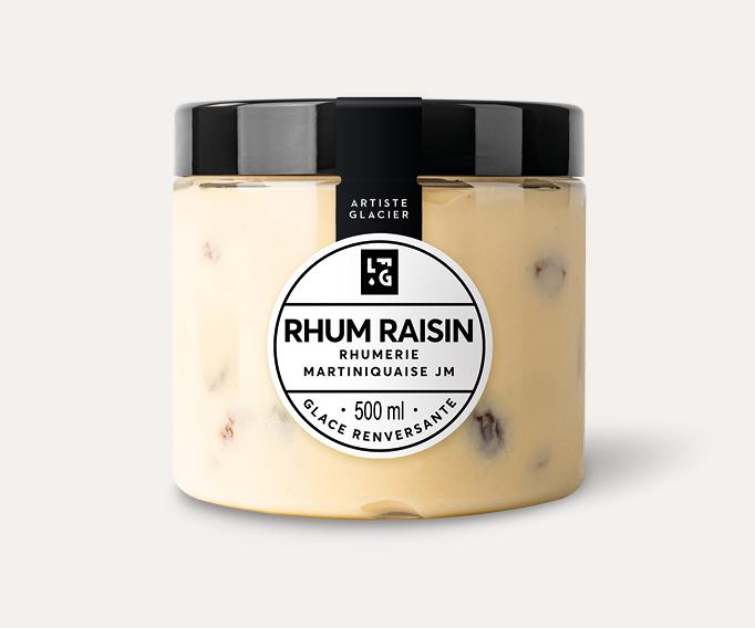 Crème glacée artisanale rhum raisin au rhum vieux JM