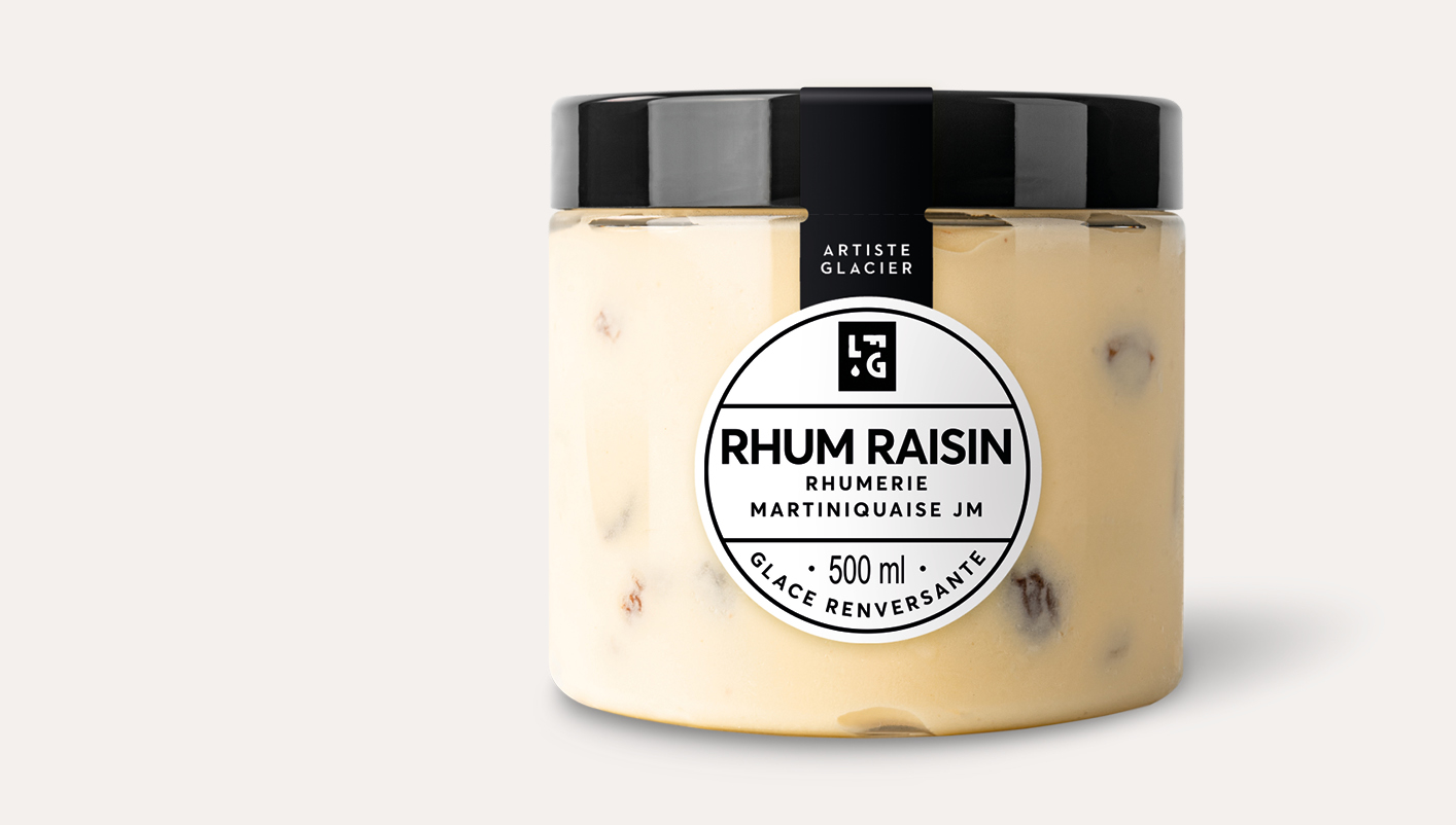 Crème glacée artisanale rhum raisin