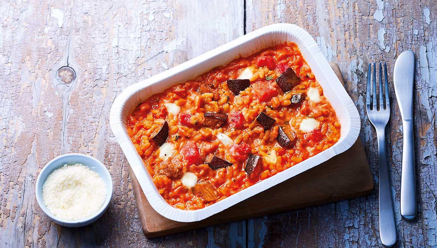 Risotto aux aubergines et sauce crémeuse à la tomate