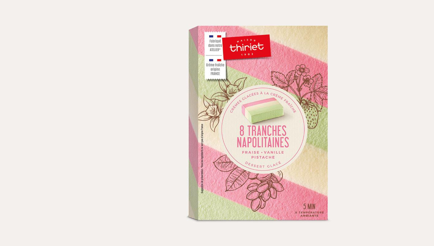 8 Tranches napolitaines fraise vanille pistache