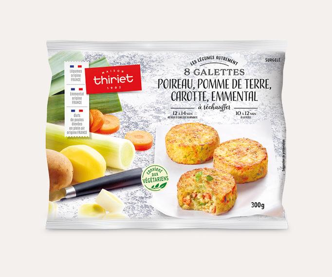 8 Galettes poireau, pomme de terre, carotte, emmental