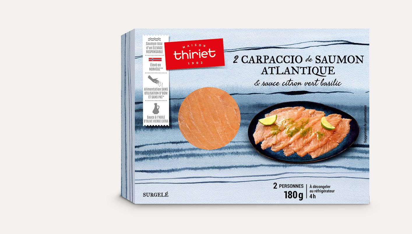 2 Carpaccio de saumon Atlantique, sauce citron vert basilic
