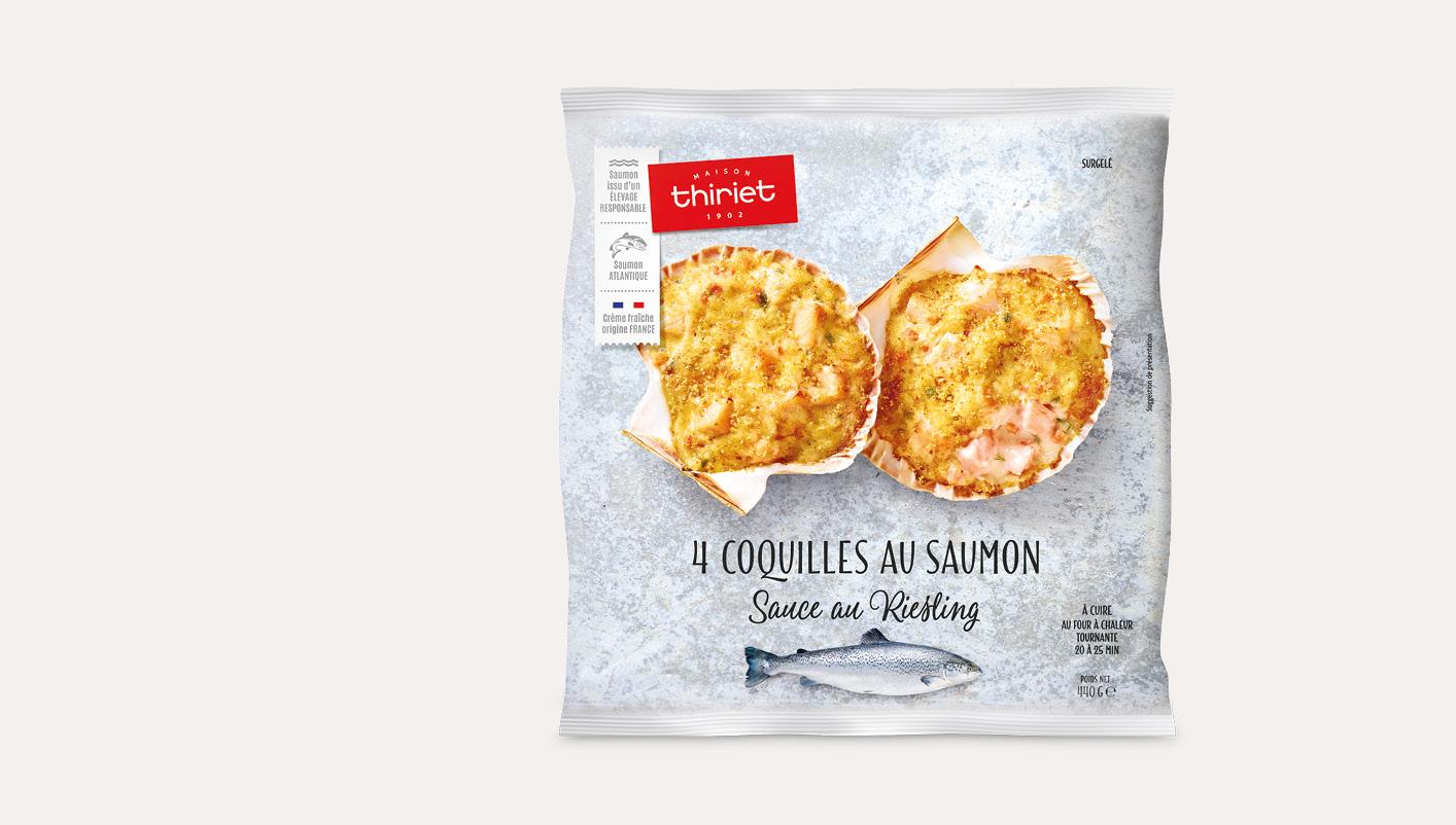 4 coquilles au saumon, sauce au Riesling