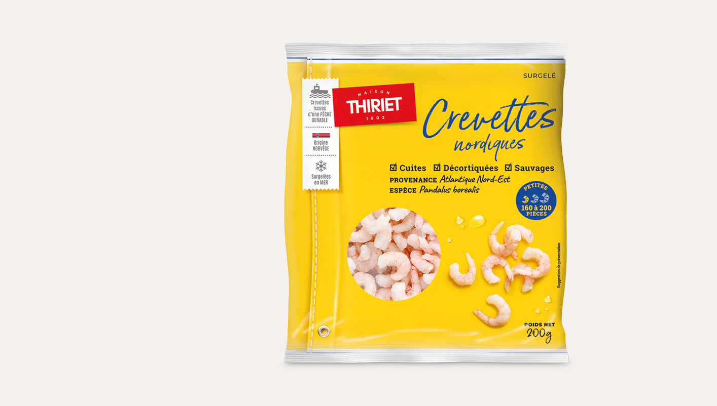 Crevettes nordiques sauvages décortiquées cuites