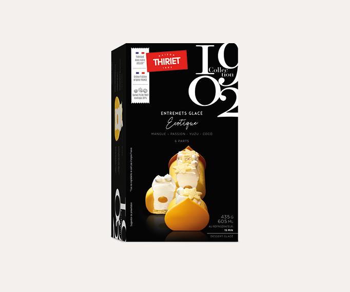 Entremets glacé exotique mangue, passion, yuzu, coco