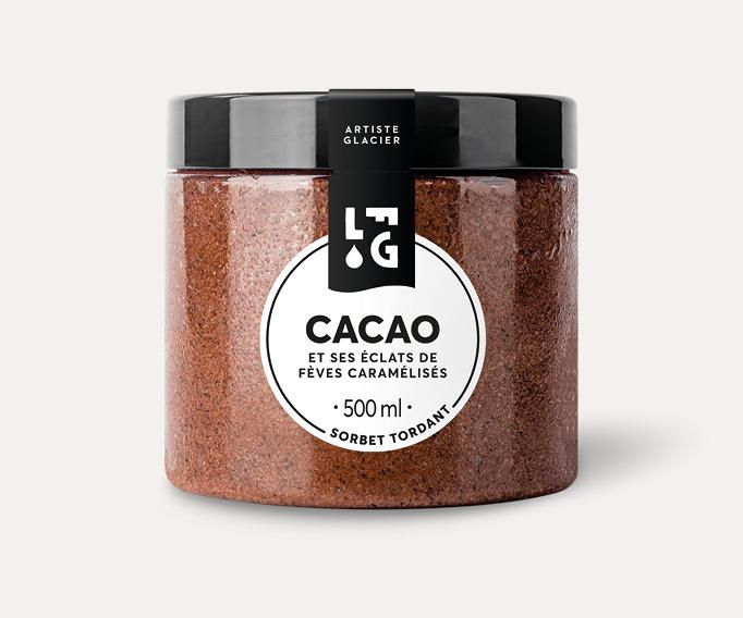 Sorbet artisanal cacao et éclats de fèves caramélisés