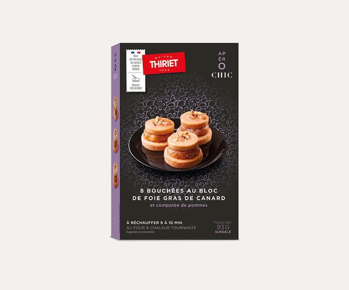8 Bouchées au bloc de foie gras de canard,compotée de pommes